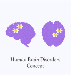 Human brain filled with puzzle pattern vector