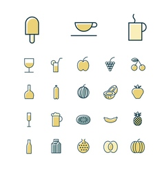 Icons thin blue food drinks vector