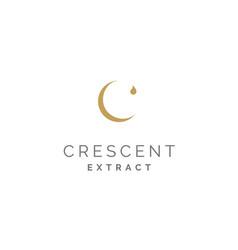 initial c crescent moon golden water droplet logo vector image