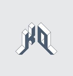 Ko - logo or 2-letter code isometric 3d font vector