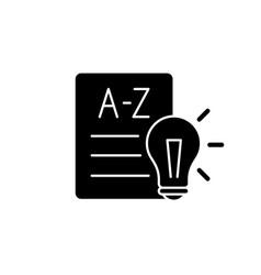 Language arts black glyph icon vector