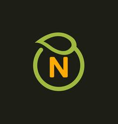 letter n naturally business logo design vector image