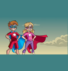 Little super kids sky background vector