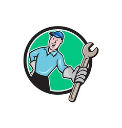 Mechanic Presenting Wrench Circle Cartoon vector