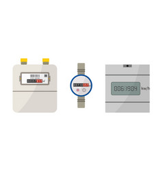Meter electric gas and water counter box with vector
