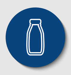 Milk bottle sign white contour icon in vector