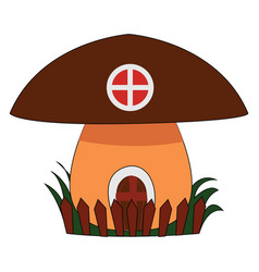 mushroom house on white background vector image