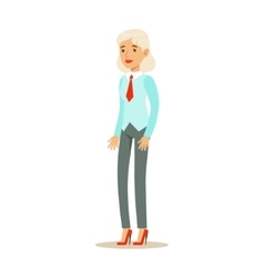 Old Woman In Vest With A Tie Part Of Office vector image
