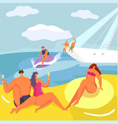 party at yacht people in cruise vector image