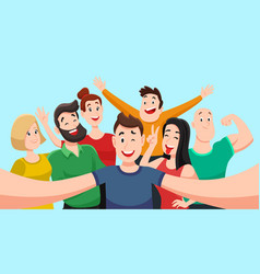 People group selfie friendly guy makes group vector