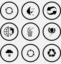 Recycle symbol fish globe and shamoo bin bird vector
