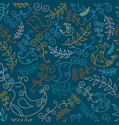 Seamless pattern with spring birds and branches vector