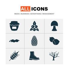 Seasonal icons set with grain filbert cedar and vector
