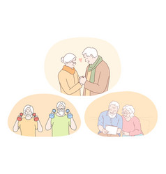 senior elderly couple living happy active vector image
