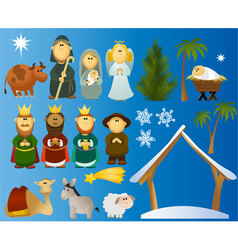 Set christmas scene elements vector