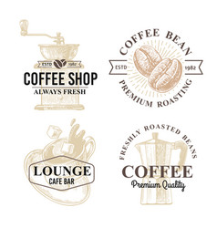 set coffee themes cup grinder coffee beans vector image