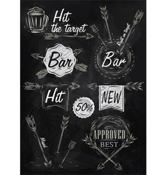 Set emblem of Bar Boom Arrow chalk vector