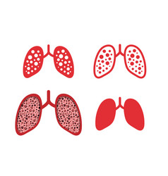 Set lung cancer icons in design vector