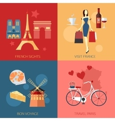 Set of France travel compositions with place for vector
