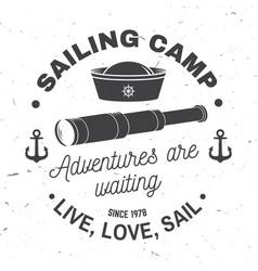 set summer sailing camp badge concept vector image