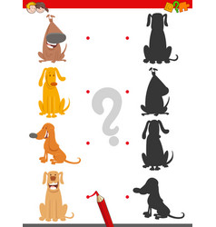 shadow game with funny cartoon dogs vector image
