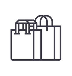 shopping bags line icon sign vector image