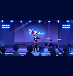 singer on stage performing rock music concert vector image