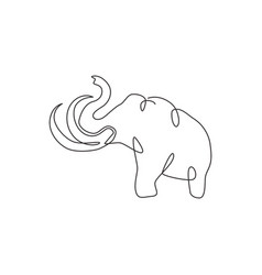 single continuous line drawing big mammoth vector image