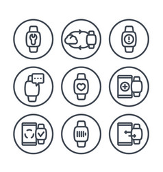smart watch line icons in circles over white vector image