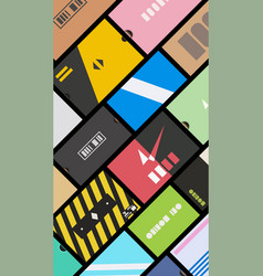 Sneakers boxes view from top flat design vector
