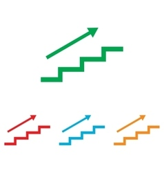 Stair with arrow Colorfull set vector image