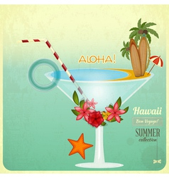 Summer Cocktail Card in retro Style vector