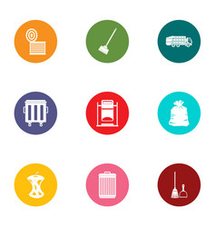 Throw out trash icons set flat style vector
