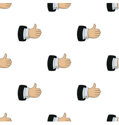 Thumb up icon in cartoon style isolated on white vector