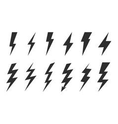 Thunder set electric flash thunder and bolt vector