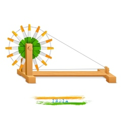 Tricolor Charkha Spinning Wheel vector