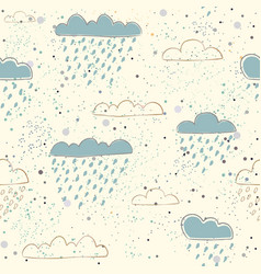 Ute seamless pattern with hand drawn clouds on vector