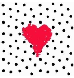 Valentine hand drawn card polka dots vector image