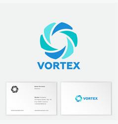 vortex logo blue letter emblem monogram dynamic vector image