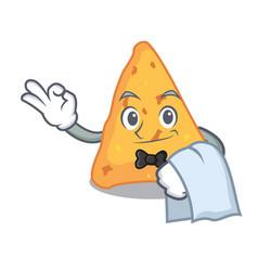 waiter nachos mascot cartoon style vector image