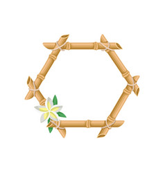 wooden frame of bamboo with flower vector image