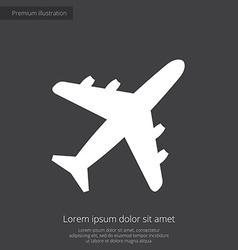airplane premium icon white on dark background vector image vector image