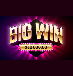 big win banner for gambling games such as poker vector image vector image