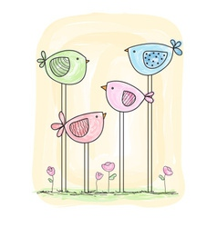 cute painted birds in watercolor style vector image vector image