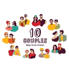 Family couples avatars people faces color set vector image vector image