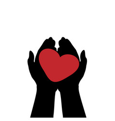 hands hold heart symbol of love vector image