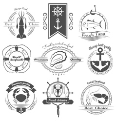 set of logos seafood vector image