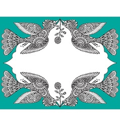 with hand drawn ornate birds and flowers vector image vector image