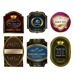 set colored gold framed labels vector image