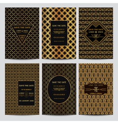 Set of Wedding Invitation Cards - Art Deco Style vector image